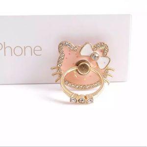 NWT Hello Kitty Bow Pink Rotating Gold Phone Ring